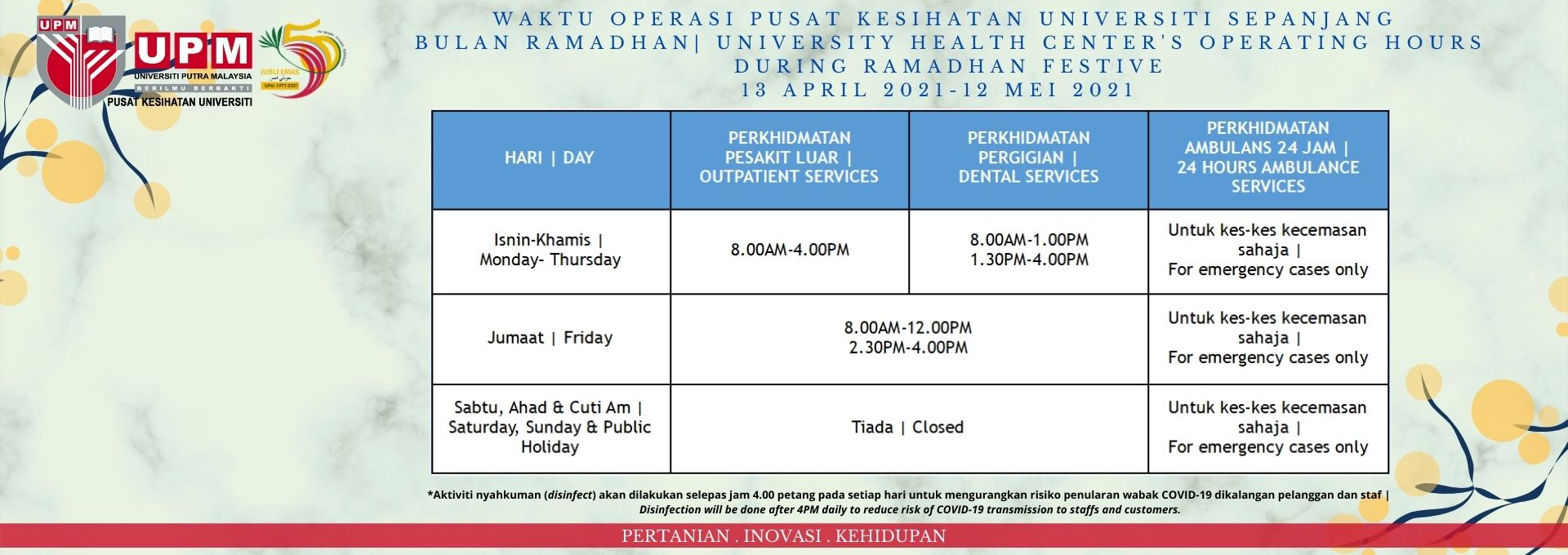 Operating Hours During Ramadhan Festive